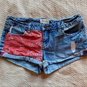 Forever 21 Patchwork Denim Shorts